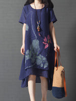 Floral Crew Neck Linen A-line Short Sleeve Dress