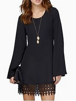 Viscose Elegant Balloon Sleeve Crew Neck Dress