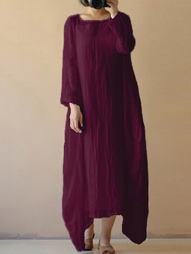 Bateau/boat Neck Polyester Long Sleeve Plain Casual Dress
