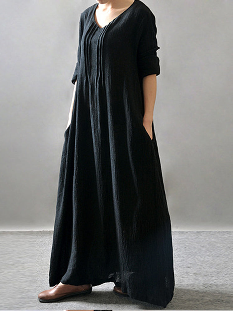 Black Simple Cocoon V Neck Dress