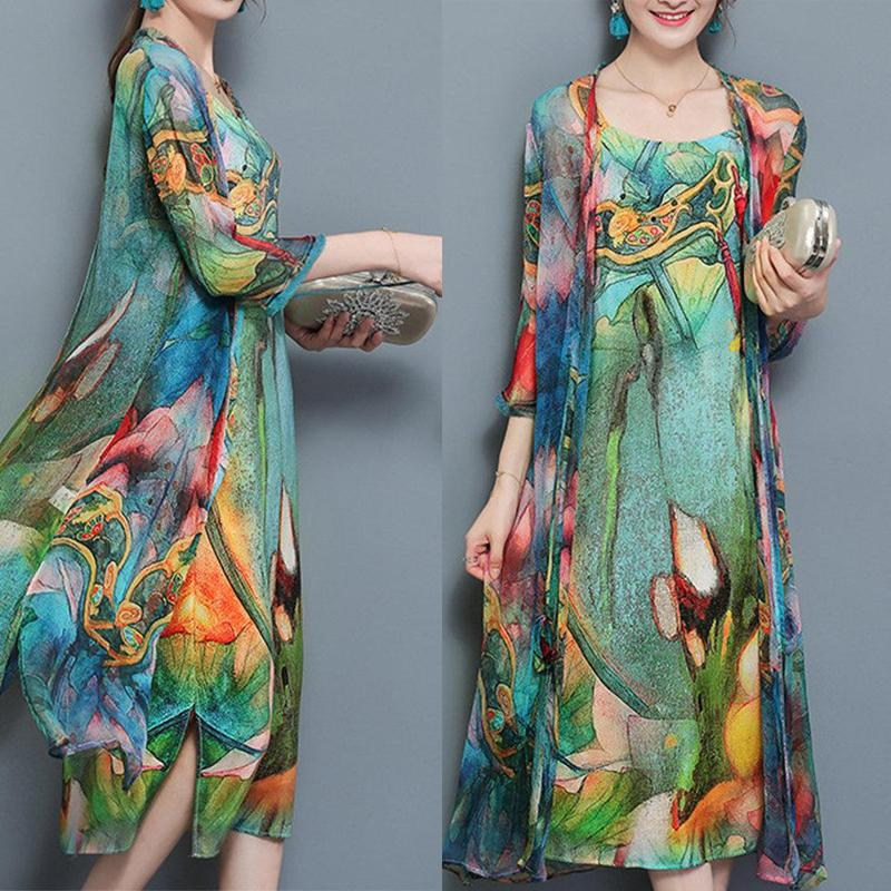 Green 3/4 Sleeve Two Piece Chiffon Vintage Dress