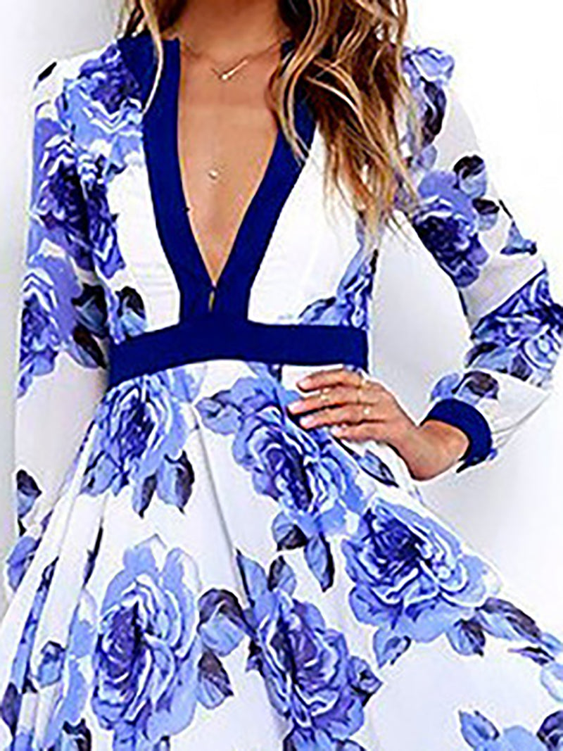 Long Sleeve Floral Sexy Polyester Swing Maxi Dress