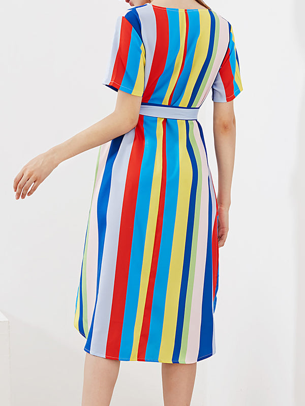 Multicolor Elegant Sheath V Neck Chiffon Midi Dress