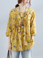 3/4 Sleeve Printed Linen Blouse