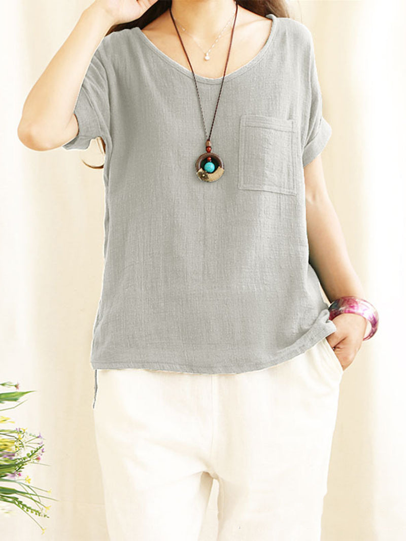 Pockets Solid Cotton Casual Plus Size T-Shirt