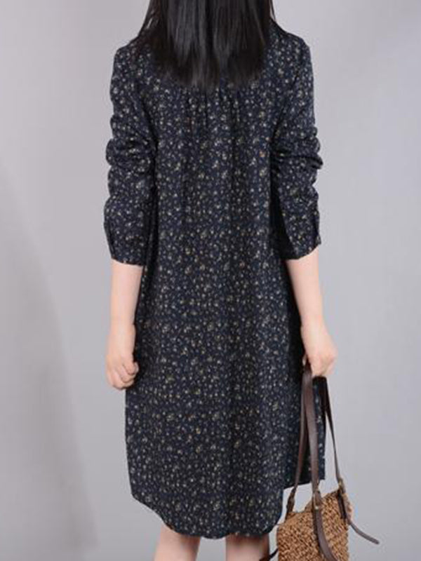 Green Stand Collar Printed Long Sleeve Dress