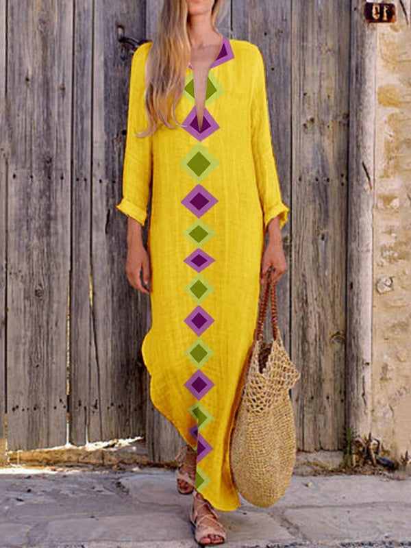 Plus Size Printed Geometric V-Neck Maxi Dresses