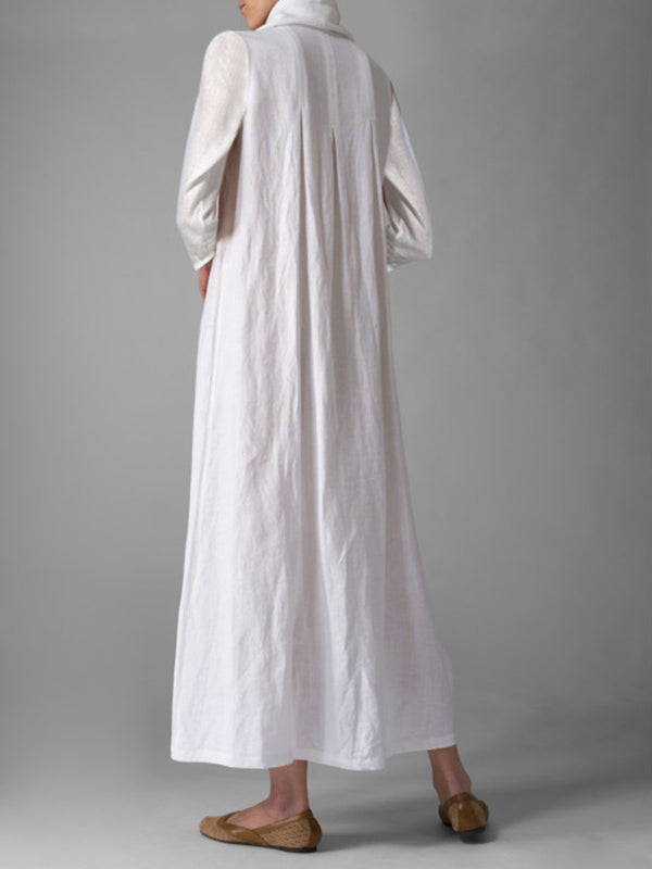 Plus Size Casual Turtle Neck Linen Maxi Dress