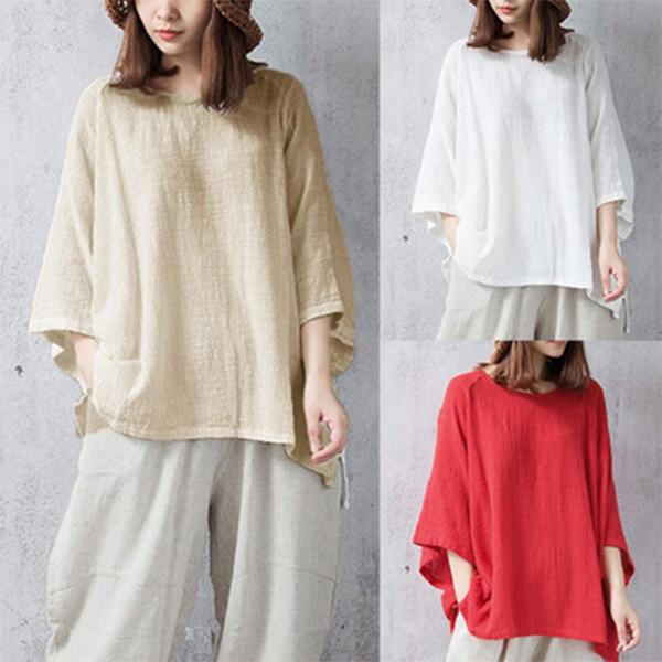 Casual Cotton Crew Neck Solid Plus Size T-Shirt