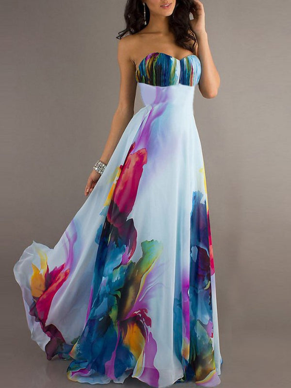 Multicolor Swing Statement Chiffon Maxi Dress