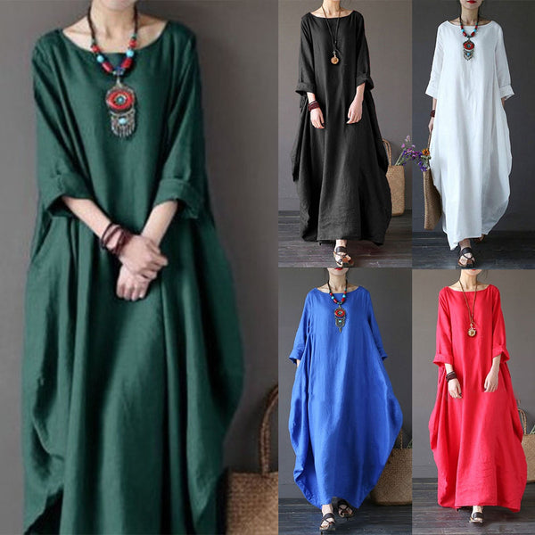 Large Size Swing Long Sleeve Crew Neck Cotton Dress