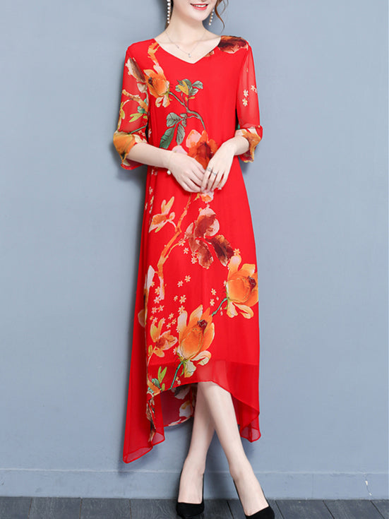 Half Sleeve Chiffon Boho Maxi Dress