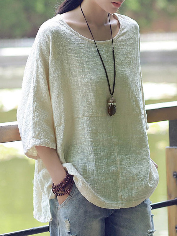 New Women Casual Loose Solid Half Sleeve Cotton Top