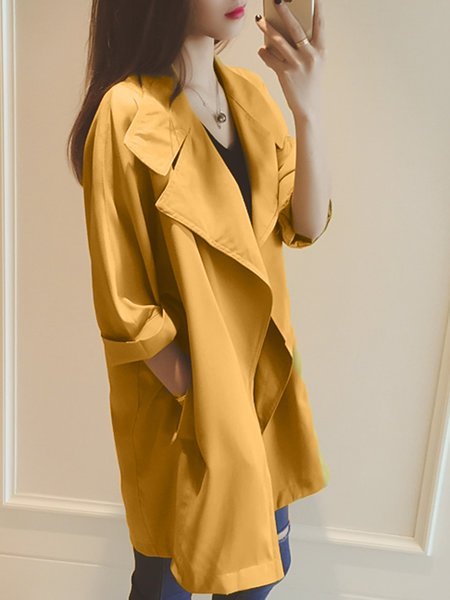 Yellow Pockets Shawl Collar Casual Long Sleeve Solid Coat