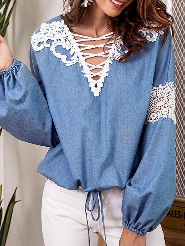 V neck Embroidered Solid Balloon Sleeve Blouse