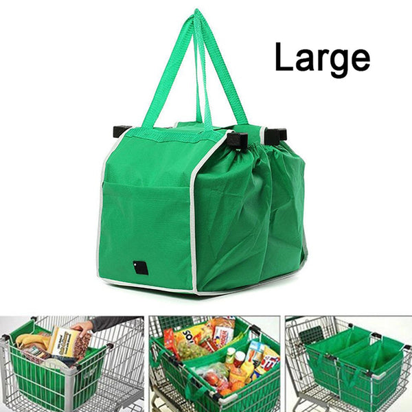 Foldable Tote Bag Grocery Grab Bag Fabric Shopping Carrier Clip-To-Cart