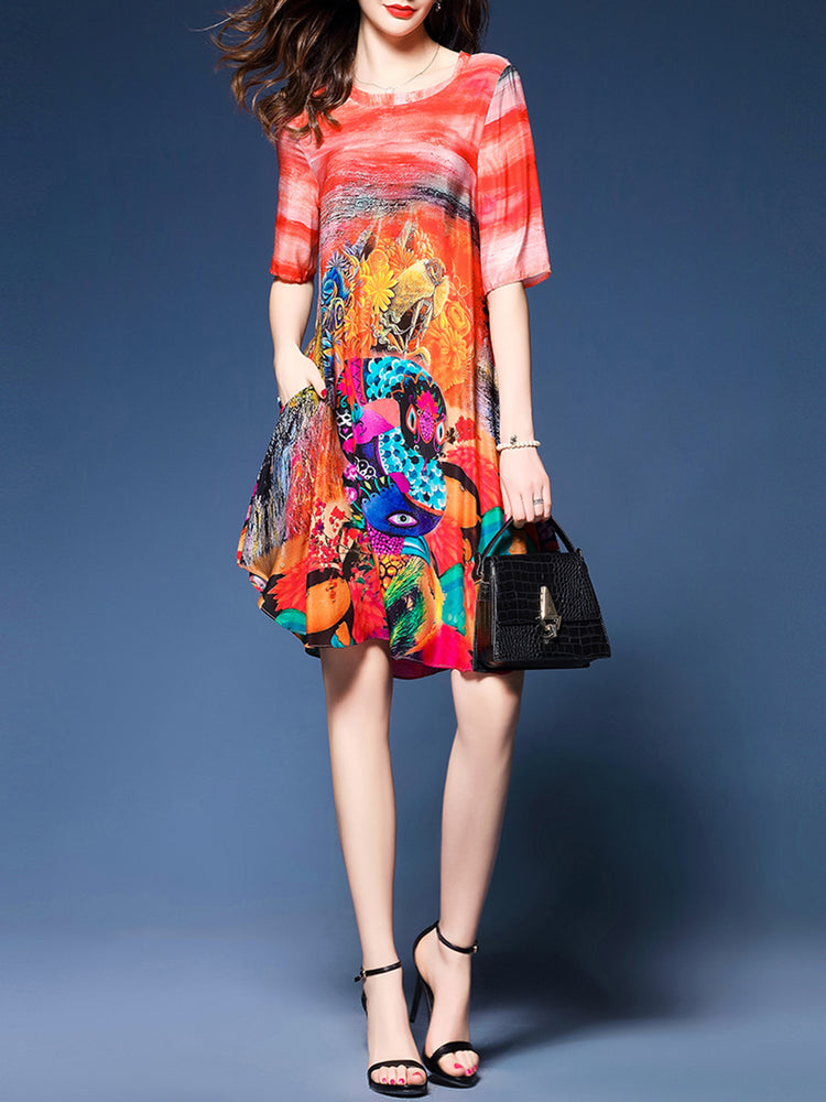 Multicolor A-line Printed Crew Neck Half Sleeve Dress