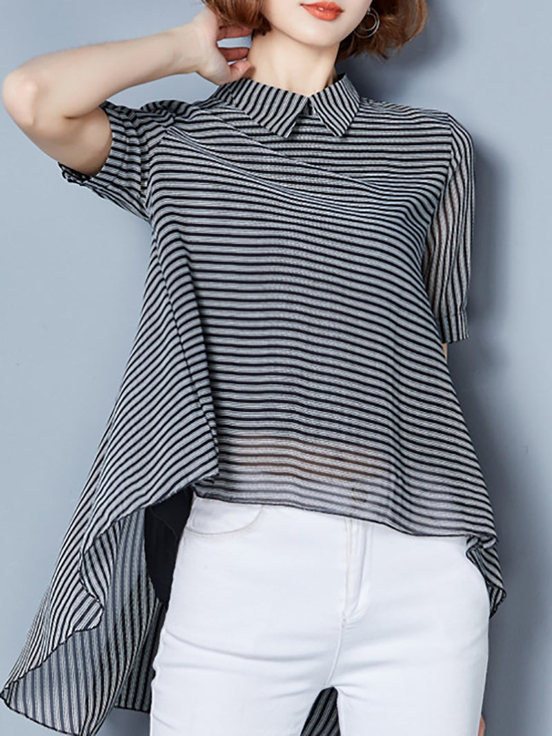 Elegant Short Sleeve Stripes Blouse