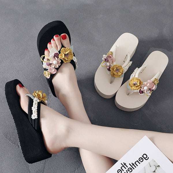 Black Beach Summer Cloth Imitation Pearl Slipper