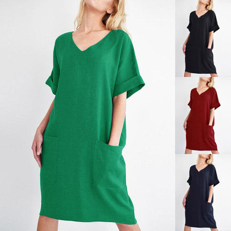 Plus Size Black Short Sleeve V Neck Shift Casual Dress
