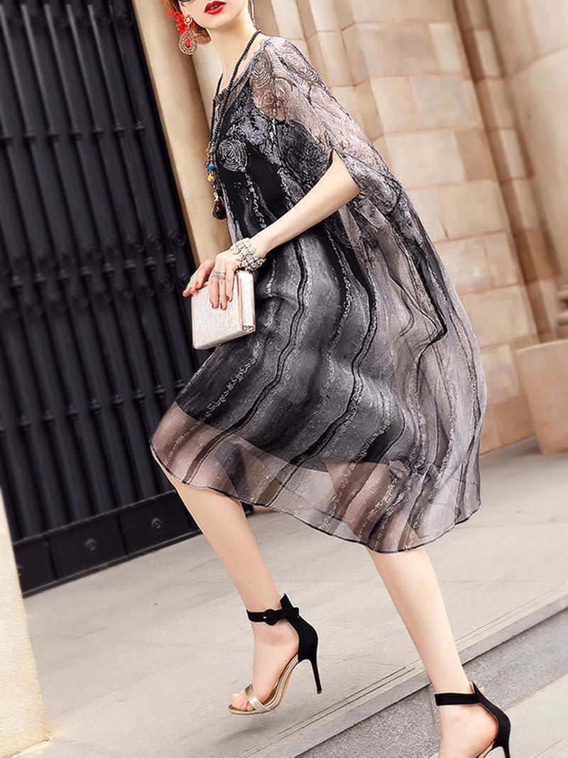 Casual Batwing Two Piece Plus Size Vintage Dress