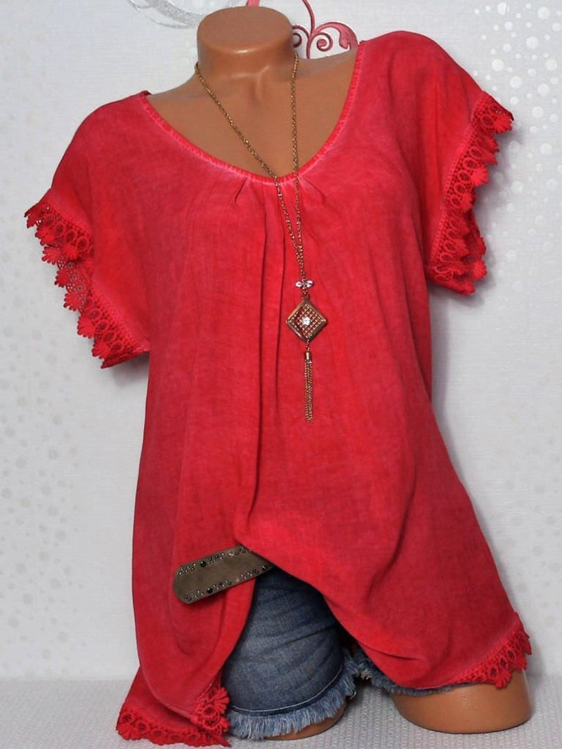 Pink V Neck Solid Basic Polyester T-Shirt