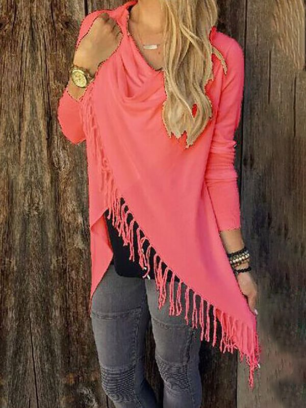 Long Sleeve Cowl Neck Ruched Casual Fringed Knitted T-Shirt
