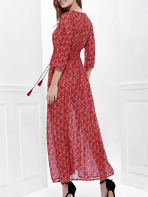 Red Swing Elegant Cotton Casual Dress