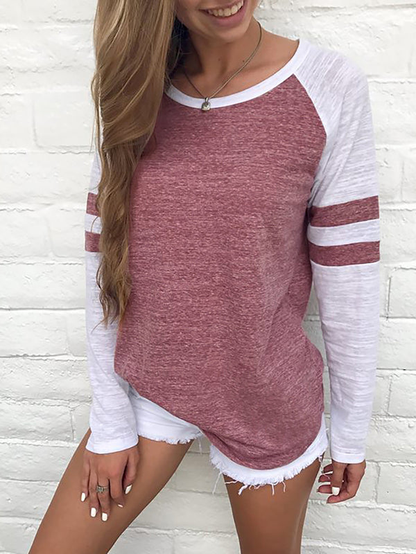 Crew Neck Raglan Sleeve Solid Printed Casual T-Shirt