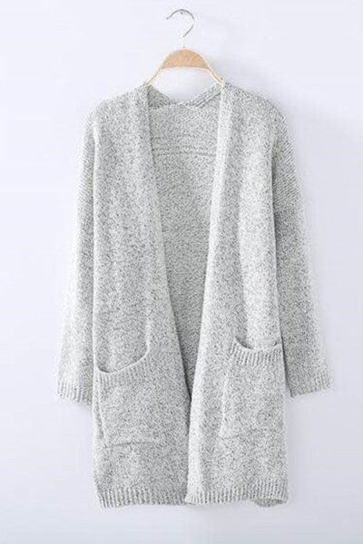 Gray Casual Pockets Knitted Cardigan