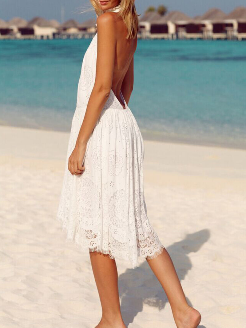 White Solid Casual Backless Beach Dress