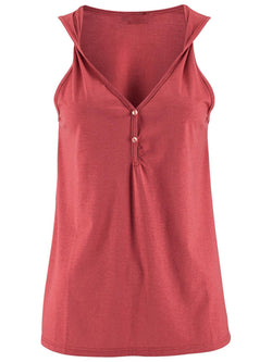 Sleeveless Buttoned Solid V Neck Cami