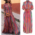 Red Half Sleeve Stripes A-line Midi Dress