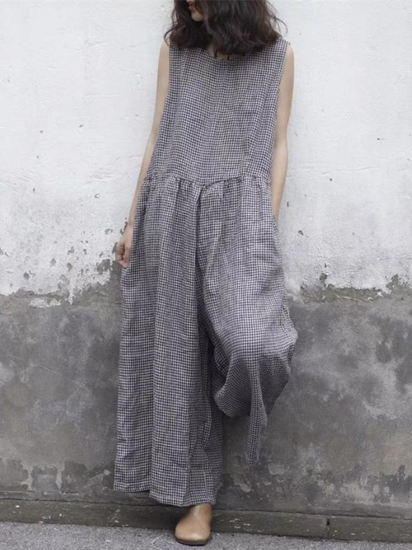 COMFORTABLE PURE LINEN COTTON JUMPSUIT