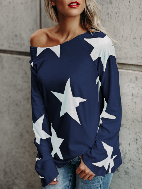 Crew Neck Long Sleeve Geometric Plus Size T-Shirt