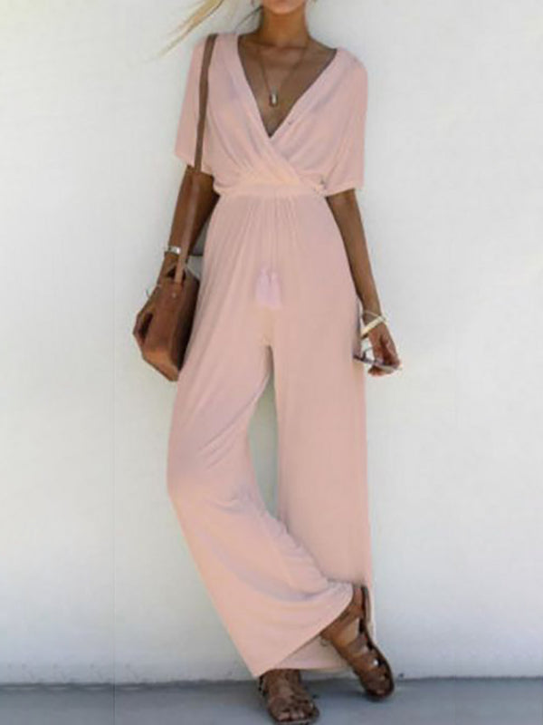 Pink Paneled Casual Polyester Jumpsuits & Romper