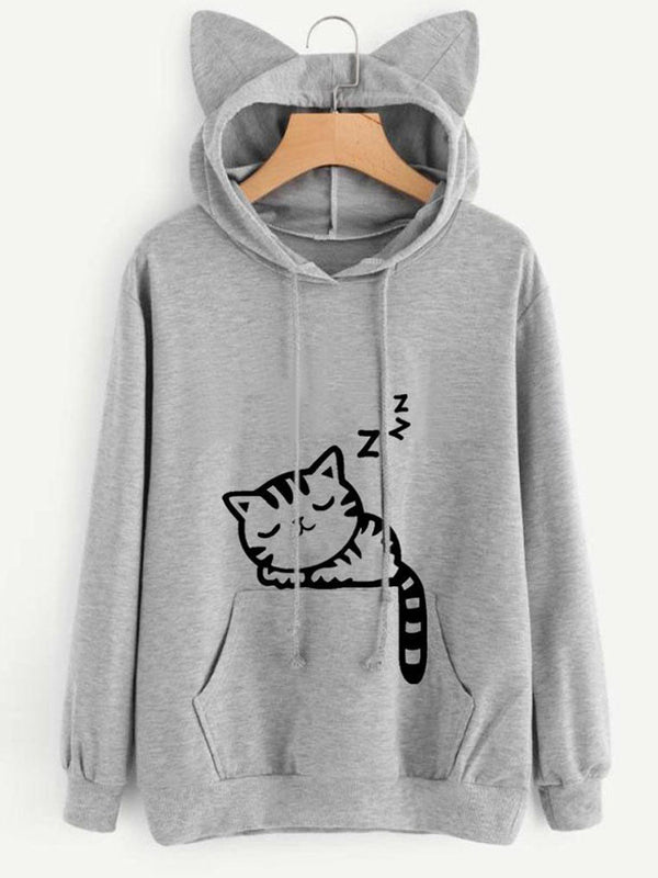 Solid Printed Cotton-blend Simple Hoodie