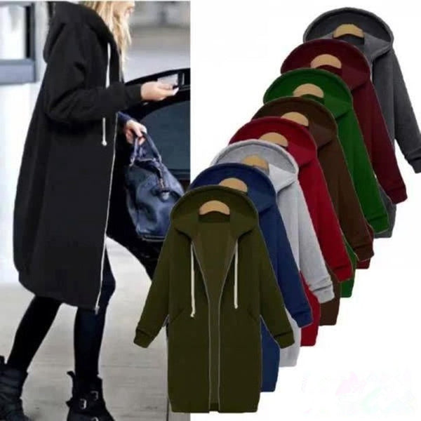 Plain Pockets Long Sleeve Plus Size Coat & Hoodie