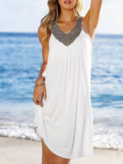 White Cotton Elegant Party Dress