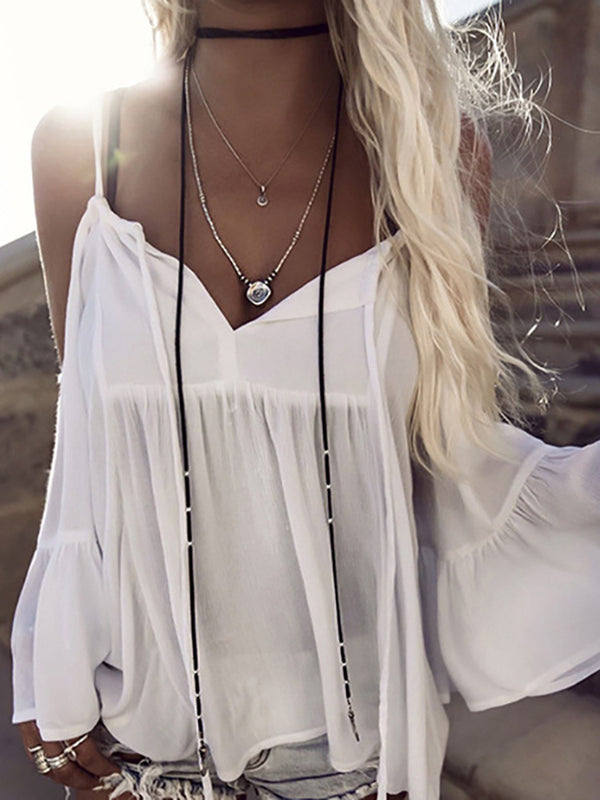 White Gathered Cold Shoulder Beach Blouse