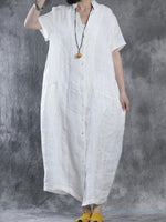 White Casual Cotton Slit Shift Dress