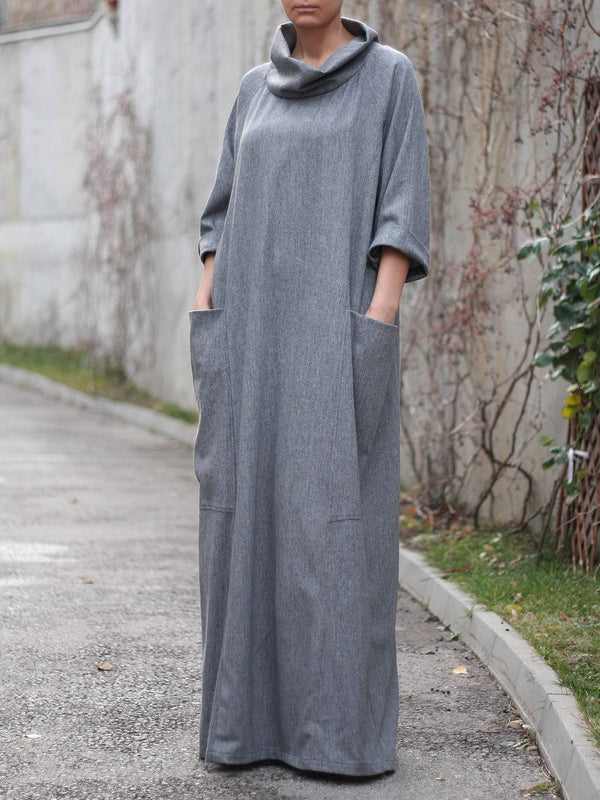 Plus Size Gray Linen Fall Maxi Dress