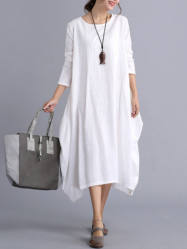 White Casual Plain Pockets Casual Dress