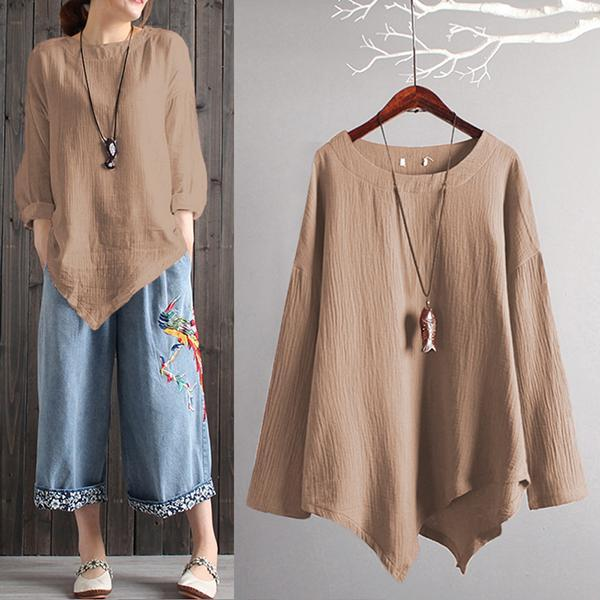 Vintage Cotton Linen Crew Neck Loose Blouse