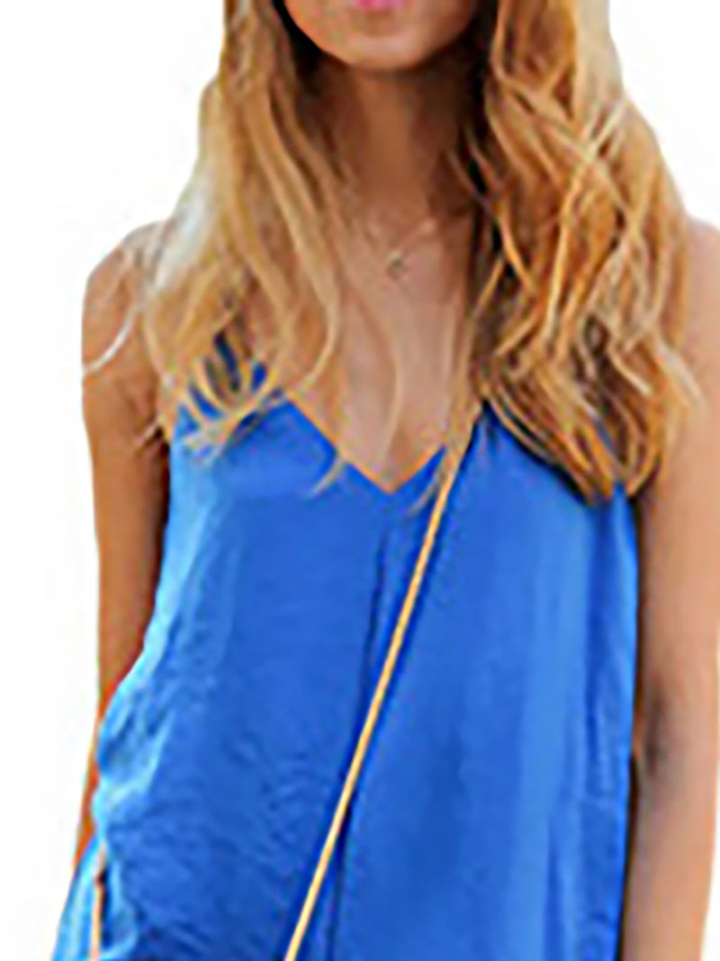 Royal Blue V Neck Solid Casual Jumpsuits & Romper