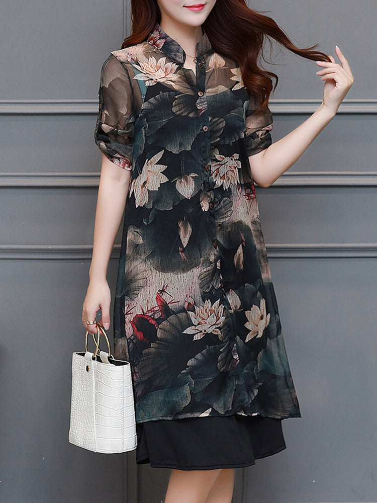 Stand Collar Two Piece Casual 34 Sleeve Plus Size Dress Jodishop