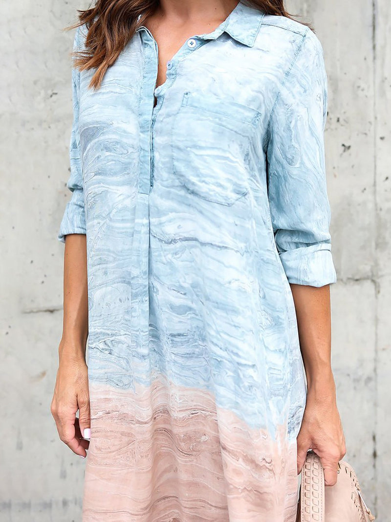Half Sleeve Shift Shirt Collar Casual Dress