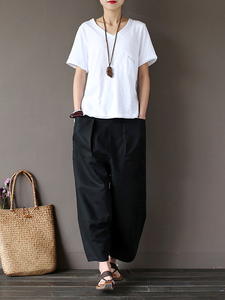 Black Casual Solid Linen Bottom