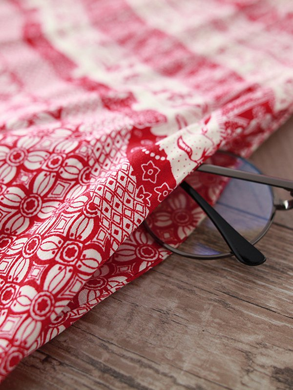 Red Printed Floral Casual LINEN CLOTH