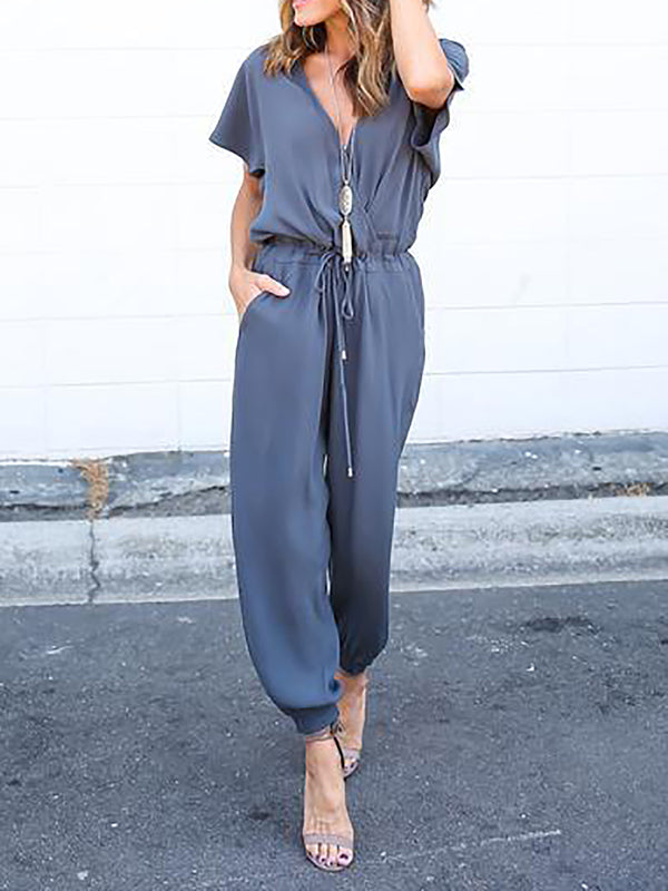 Short Sleeve Solid Sexy Halter Lace Up Jumpsuits